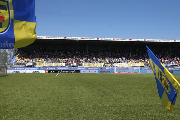 LEEUWARDEN , voetbal, 08-05-2016 , Eredivisie , seizoen 2015 - 2016 , Cambuur Stadion , SC Cambuur - Excelsior , spandoeken supporters SC Cambuur   foto: Henk Jan Dijks