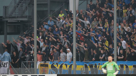UTRECHT , voetbal, eredivisie , FC Utrecht - SC Cambuur , Stadion Galgenwaard , seizoen 2013-2014, 02-04-2014, supporters SC Cambuur.  foto: Henk Jan Dijks